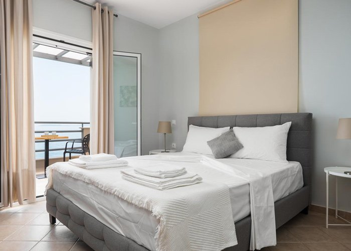 glyfa beach front villas barbati corfu bedroom view